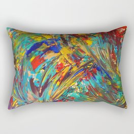 FIREWORKS IN COLOR - Bold Abstract Acrylic Painting Lovely Masculine Colorful Splash Pattern Gift Rectangular Pillow