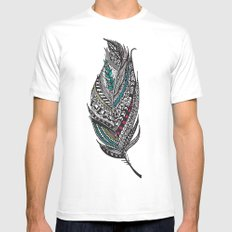 Single Aztec Feather  MEDIUM Mens Fitted Tee White