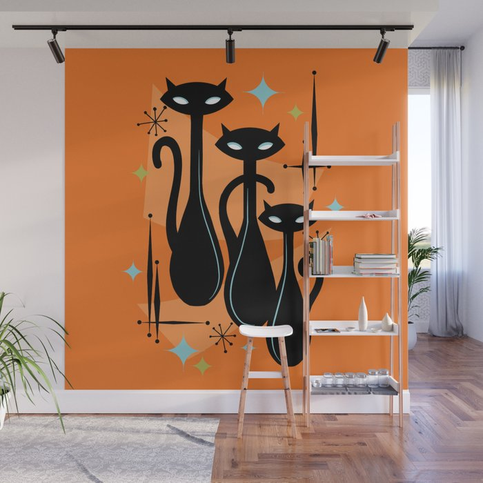 Effervescent Orange Atomic Age Black Kitschy Cat Trio Wall Mural