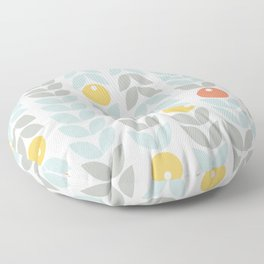 Mid Century Modern Retro Leaf and Circle Pattern Floor Pillow