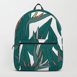 tropical strelitzia flowers leaf sketch, black contour pink coral yellow green. simple ornament Backpack