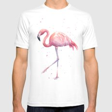 Flamingo Watercolor Pink Bird White LARGE Mens Fitted Tee