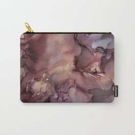 Ink Swirls Painting Lavender Plum Gold Flow Carry-All Pouch