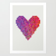 Heart Color Grid Art Print
