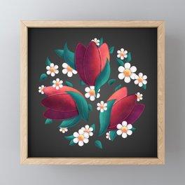 Bouquet (Tulipes et Marguerittes) Noir Framed Mini Art Print