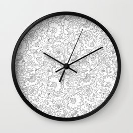 Fly EYES - Patterns GRAY - flowers, floral Wall Clock