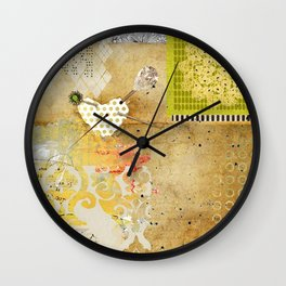 Neutral & Green Abstract Art Collage Wall Clock
