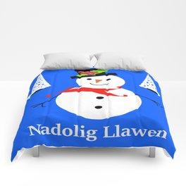Nadolig Llawen, Merry  Christmas snowman Wales Comforters