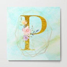 Gold Foil Alphabet Letter P Initials Monogram Frame with a Gold Geometric Wreath Metal Print