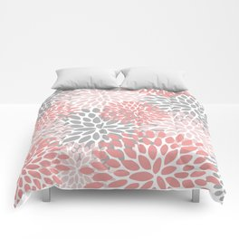 Floral Pattern, Coral Pink and Gray Comforters
