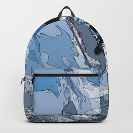 Ski over avalanche//snow mountain//Mountain Ski Landscape Blue and White sketch Vibes Backpack