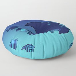 Nine Blue Fish with Patterns Floor Pillow