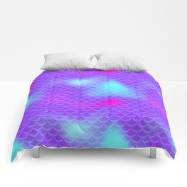 Violet and Blue Mermaid Tail Abstraction. Magic Fish Scale Pattern Comforters