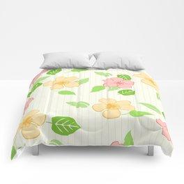 Flowers Leaf Stripe Comforters