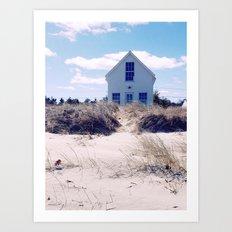 Sand Dune Beach Cottage Art Print