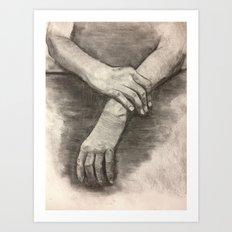 Charcoal Hands Art Print