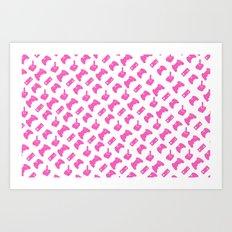 Gamer  - Pink on White Art Print