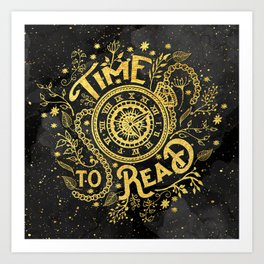 Time to Read - Gold Art Print