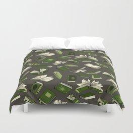 Spellbooks, green Duvet Cover