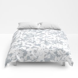White and Grey Botanical Silhouette Pattern - Broken but Flourishing Comforters