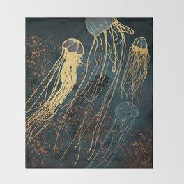 Metallic Jellyfish Throw Blanket