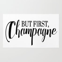 Black And White But First Champagne Quote Rug