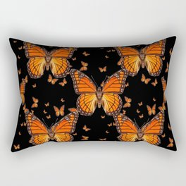 ORANGE MONARCH BUTTERFLIES BLACK MONTAGE Rectangular Pillow
