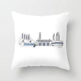Kansas City Skyline Illustration in Sporting KC Colors Throw Pillow