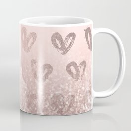 Rose Gold Sparkles on Pretty Blush Pink with Hearts Coffee Mug