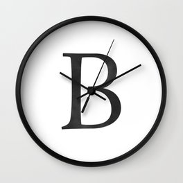 Letter B Initial Monogram Black and White Wall Clock