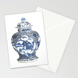 Blue & White Chinoiserie Porcelain Ginger Jar with Country Scene Stationery Cards