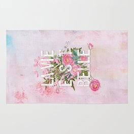 LAVIE EST BELLE - Watercolor - Pink Flowers Roses - Rose Flower Rug