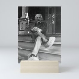 Albert Einstein in Fuzzy Slippers Classic Black and White Satirical Photography - Photographs Mini Art Print
