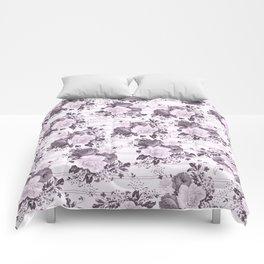 Bohemian vintage black white stripes floral Comforters