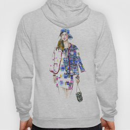 fashion #60: Woman in a suit with geometric pattern Hoody