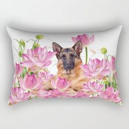 German Sheep Dog Lotos Field Rectangular Pillow