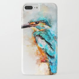 Watercolor kingfisher bird iPhone Case