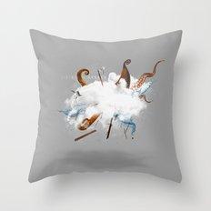 Dust-Ups: Viking vs Kraken Throw Pillow