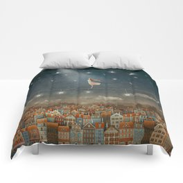Illustration of  cute houses and  pretty girl   in night sky Comforters