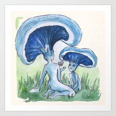 Empire of Mushrooms: Lactarius indigo Art Print