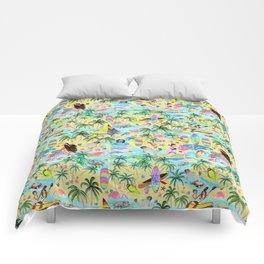Yoga Aloha Hawaiian Tropical mermaid , flamingos, yoga floats floral Comforters