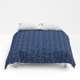 Positive Running Vibes on Blue Comforters