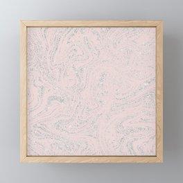 Blush pink elegant silver glitter abstract marble Framed Mini Art Print