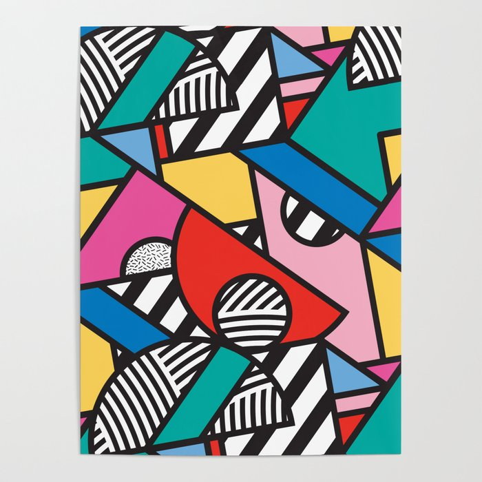 Colorful Memphis Modern Geometric Shapes - Tribal Kente African Aztec Poster
