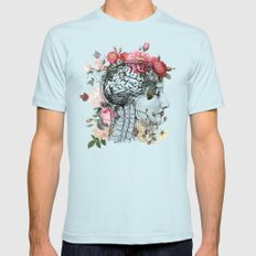 Beautiful Brain Mens Fitted Tee LARGE Light Blue