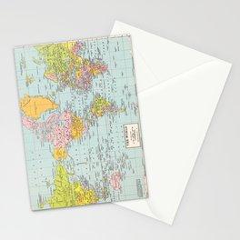 World Map Stationery Cards