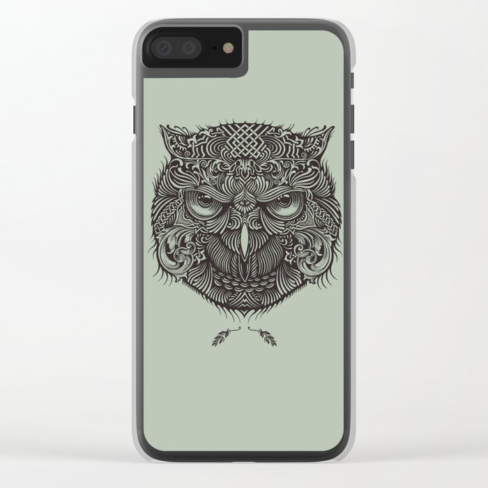 Warrior Owl Face Clear iPhone Case