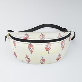 Modern coral yellow watercolor boho leaves Fanny Pack