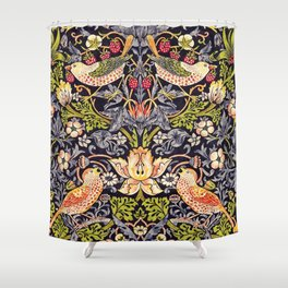 William Morris Strawberry Thief Art Nouveau Painting Shower Curtain