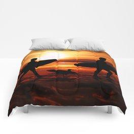 Sunset Surfers Comforters